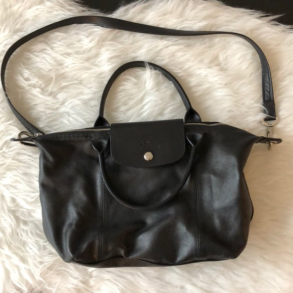Longchamp Handbags - Longchamp Le Pliage Cuir Black Leather Bag db350cfb74